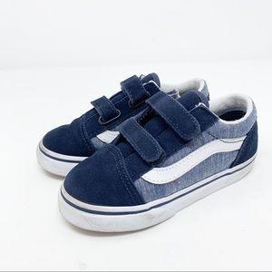 Vans Old Skool V Kids Sneakers in Blue Chambray